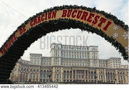 Bucharest, Romania - 12.08.2019: Christmas Fair Entrance Arch In Bucharest Romania, Near The Parliam