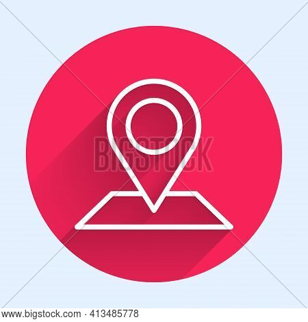 White Line Map Pin Icon Isolated With Long Shadow. Navigation, Pointer, Location, Map, Gps, Directio