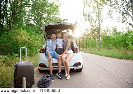 Family Car Trip. Summer Holidays, Vacation, Travel, Road Trips And People Concept.