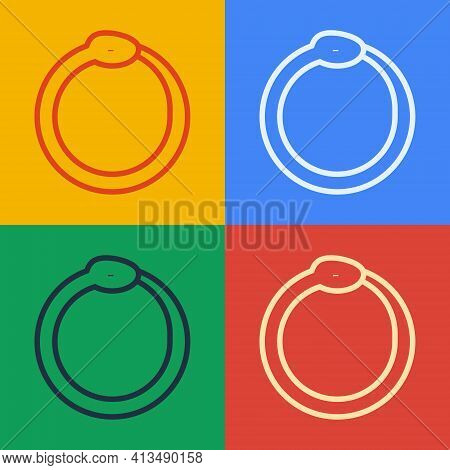 Pop Art Line Magic Symbol Of Ouroboros Icon Isolated On Color Background. Snake Biting Its Own Tail.