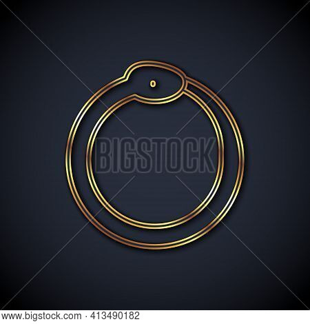 Gold Line Magic Symbol Of Ouroboros Icon Isolated On Black Background. Snake Biting Its Own Tail. An