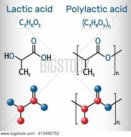 Lactic Acid (e270) And Polylactic Acid Molecule. Monomer And Polymer, Polylactide, Pla, Bioplastic,