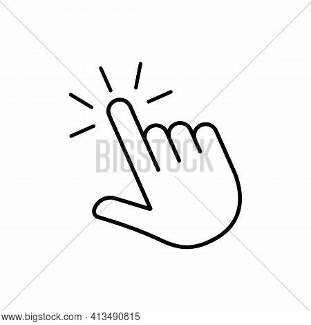 Click Finger Outline Icon . Hand Touching Of Cursor. Choose Pointer Symbol For Website, App. Tap Sig