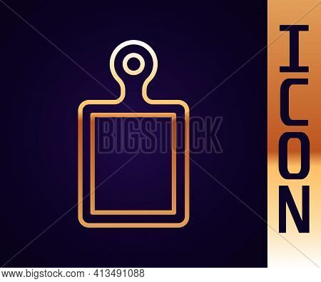 Gold Line Cutting Board Icon Isolated On Black Background. Chopping Board Symbol. Vector