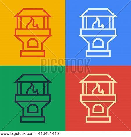 Pop Art Line Brick Stove Icon Isolated On Color Background. Brick Fireplace, Masonry Stove, Stone Ov