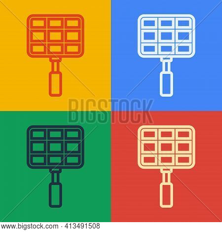 Pop Art Line Barbecue Steel Grid Icon Isolated On Color Background. Top View Of Bbq Grill. Wire Rack
