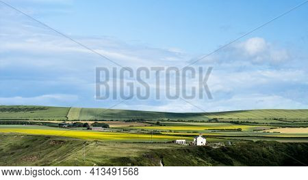 Landscape Fram Fileds And Farm House In Summer At Saltburn, Uk, Panoramic Countryside With Green Nat