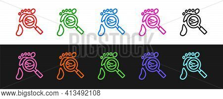 Set Line Magnifying Glass With Footsteps Icon Isolated On Black And White Background. Detective Is I