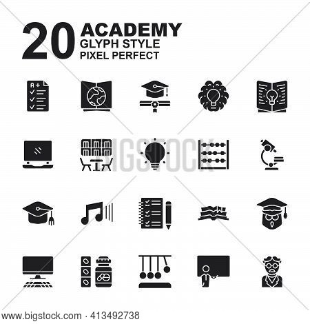 Icon Set Of Academy. Glyph Black Icons Vector. Contains Such Of Geography, Owl Graduation, Music, Ex