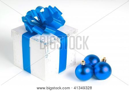 New year gift box and Christmas balls