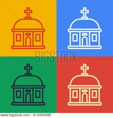 Pop Art Line Santorini Building Icon Isolated On Color Background. Traditional Greek White Houses Wi