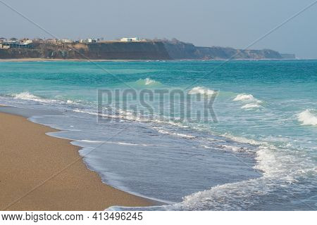 Blue, Beautiful Sea Water, With Beautiful Waves At Winter Time, In Vama Veche, Romania. Deserted, Wi