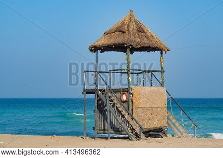 Vama Veche, Romania - 25.02.2021: Watchtower At Vama Veche Beach, In Romania, By The Black Sea Shore