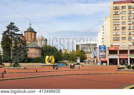 Pitesti, Romania - 10.24.2020: Pitesti City Center Street View, In Arges County, Romania, On A Quiet