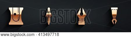 Set Pencil Sharpener, Pipette, Fountain Pen Nib And Fountain Pen Nib Icon With Long Shadow. Vector