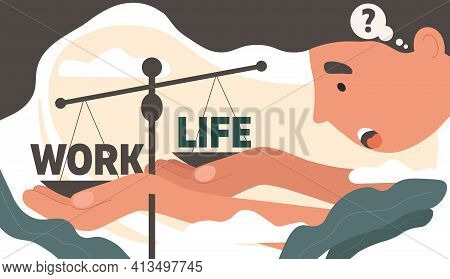 Career Or Family Abstract Concept. Businessman Trying To Balance His Work Time And Home Life On A Sc