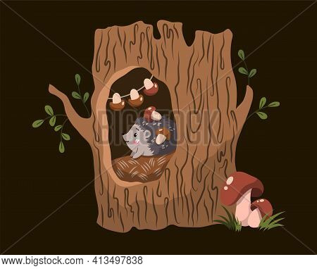 Forest Creatures Concept With Cute Little Hedgehog In A Hole In A Hollow Tree At Night, Colored Vect