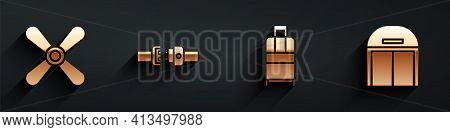 Set Plane Propeller, Safety Belt, Suitcase And Aircraft Hangar Icon With Long Shadow. Vector