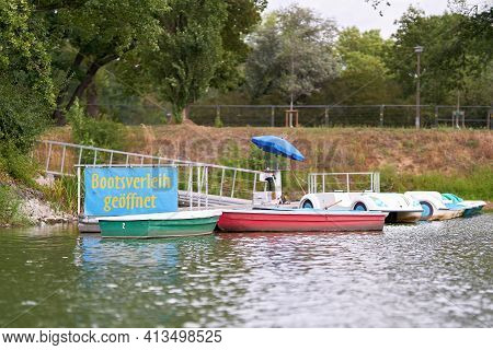 Boat Rental With Rowing Boats And Pedal Boats At Adolf-mittag-see In Rotehornpark In Magdeburg In Ge