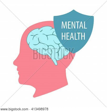Illustration Of The Mental Health Concept Vector. World Mental Health Day. A Human Head With A Shiel