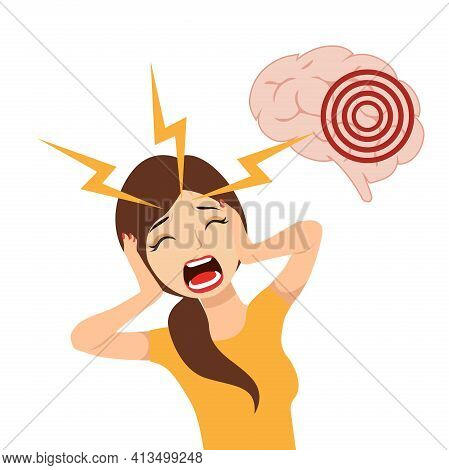 A Woman Who Has A Headache, A Migraine, Hurts By Pressing Her Hands To Her Head. Health And Pain.bra