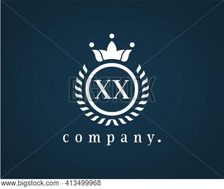 Graceful Letter Xx, X Luxury Royal Style Crown Logo. Elegant Laurel Wreath Design. The Vintage Symbo