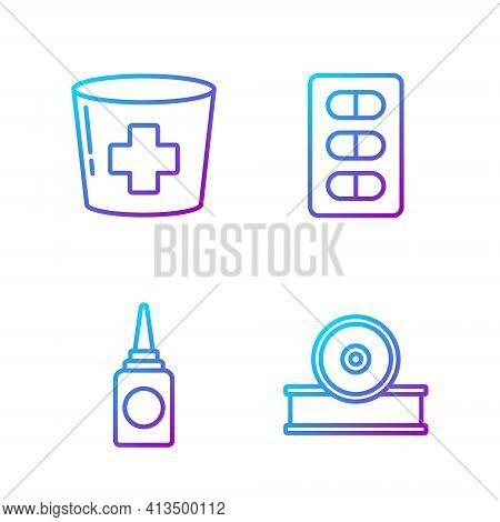 Set Line Otolaryngological Head Reflector, Bottle Nasal Spray, Nurse Hat With Cross And Pills In Bli