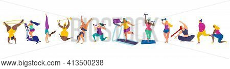 Set Of Funky Young Women In Gym.sport Activities, Exercises And Yoga. Female Characters Vector Illus