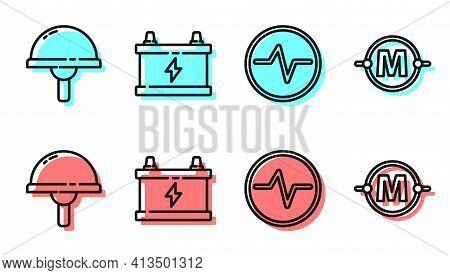 Set Line Electric Circuit Scheme, Light Emitting Diode, Car Battery And Electric Circuit Scheme Icon