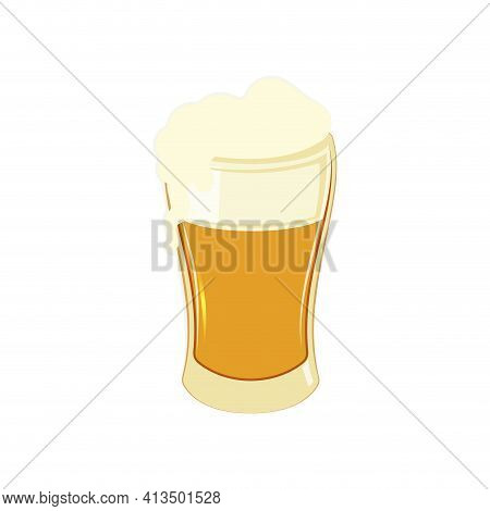 Beer Mug Isolated, Golden Transparent Ale With Bubble, Closeup Menu Element. Vector Illustration, Be