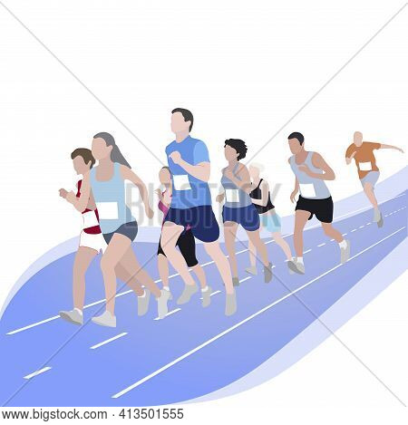 Marathon Runner Event, Competition Sport Run. Competition Exercise, Sport Event 5k Race, Speed Walk