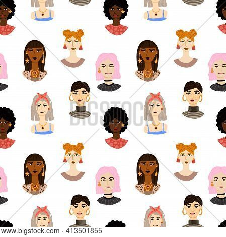 Female Portrait Seamless Pattern. Women Trendy Faces, Modern Multi Ethnic Girls Heads, European And