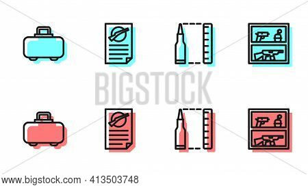 Set Line Bullet, Weapon Case, Firearms License Certificate And Hunting Shop Weapon Icon. Vector