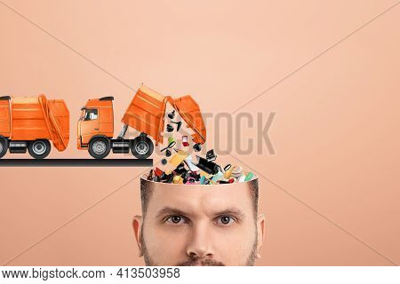 Garbage In The Head, Clogging Up The Head With Unnecessary Information. Garbage Truck Unloads Garbag