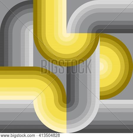 Abstract Pattern Background. Gray Yellow Gradient Pipe Shape. Cross Lines Intersecting And Connected