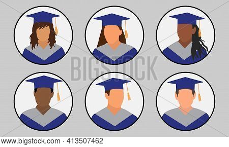 Graduates In Mantle And Mortarboard, Set Of Icon Avatar. Vector Illustration