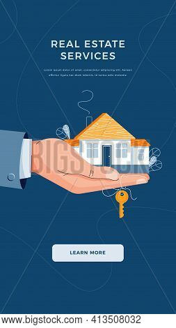 Real Estate Agency Banner. Brokers Hand Giving House Keys For Home Purchase. Deal Sale, Property Pur