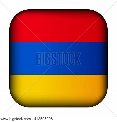 Glass Light Ball With Flag Of Armenia. Squared Template Icon. Armenian National Symbol. Glossy Reali
