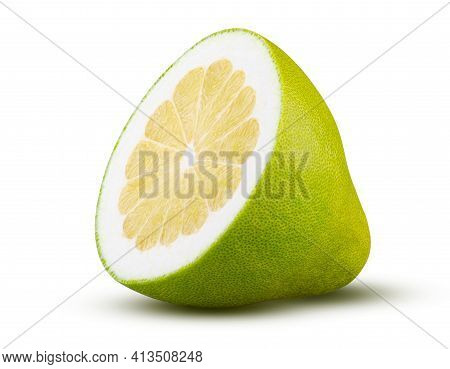 Half Of Pomelo Fruit Isolated On White Background. High Quality Retouching And Full Depth Of Field.