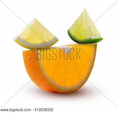 Half Circle Of Orange, And Triangular Slices Of Lemon And Lime, Glowing From Inside Isolated On Whit