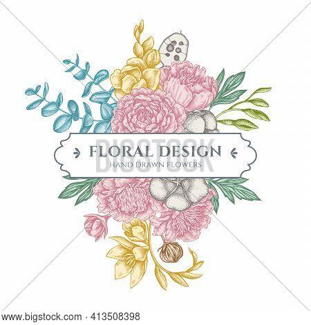 Floral Bouquet Design With Pastel Ficus, Eucalyptus, Peony, Cotton, Freesia, Brunia Stock Illustrati