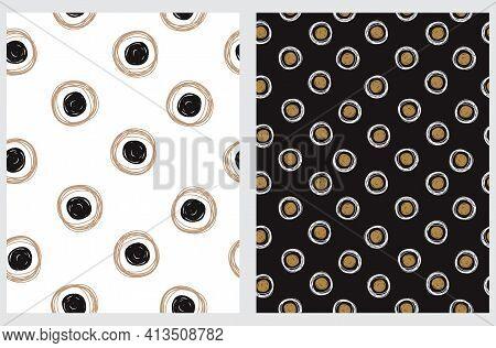 Simple Hand Drawn Irregular Dots Vector Patterns. Big Black And Gold Irregular Dots And Circles On A