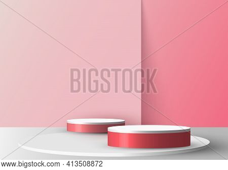 3d Realistic Empty Red And White Round Pedestal Mockup On Soft Pink Backdrop. Stage Floor For Your G