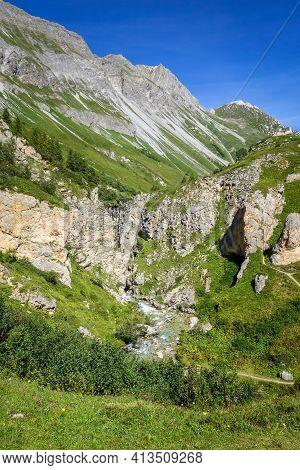 Doron River In Vanoise National Park Alpine Valley, Savoie, French Alps