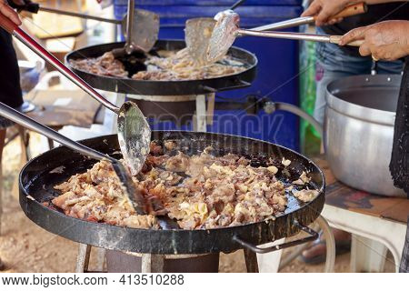 Crisp Fried Mussel Pancakes Or Mussel Omelette In Big Pan, Thailand Call Hoi Tod.