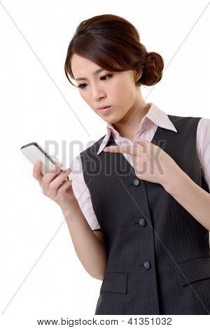 Angry business woman looking message on mobile phone, closeup portrait on white background.