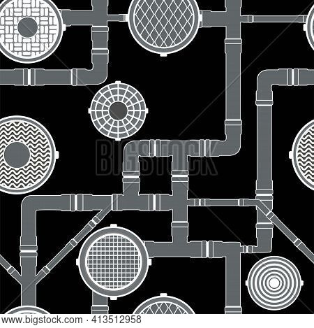 Sewer Seamless Pattern, Pipes And Sewers Black And White Variant