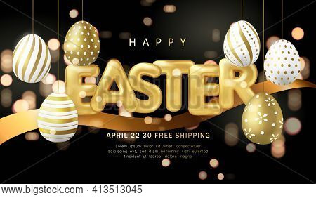 Happy Easter Banner Template Golden Luxury Easter Eggs Ribbon And Ballon Title Letter With Dark Back