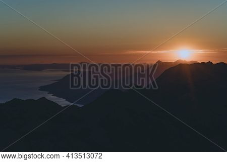 Sunset Over The Adriatic Coast. Nature Park Biokovo. Croatia
