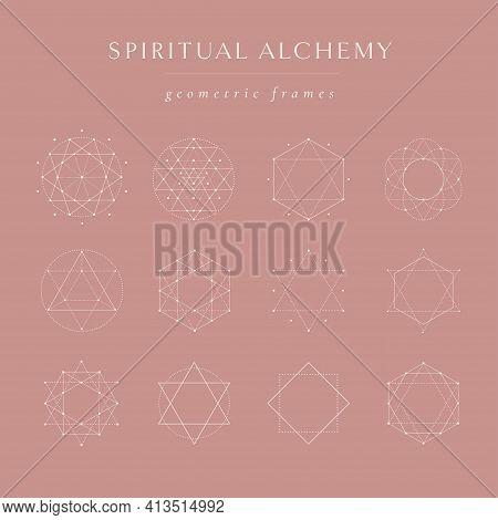 Vector White Sacred Geometry Frames And Borders